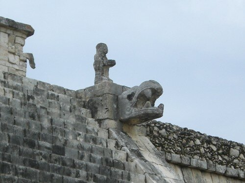 Chichen Itza - Flag Holder top of Temple of the Warriors