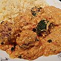 Boulettes sauce curry et noix de cajou