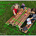 Dimensions d'une table de pique-nique pour poupée 46 cm - Dimensions of a picnic table for <b>18</b>