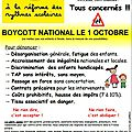 Boycott national du mercredi 01 octobre 2014