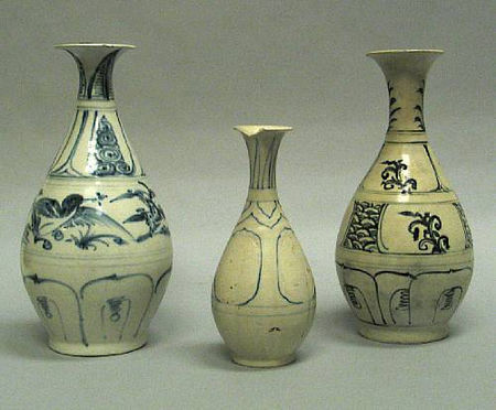 Three decorated yuhuchun bottles. Late 15th/Early 16th Century