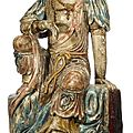 Massive Chinese <b>polychrome</b>-decorated wood Quanyin, 16th century