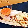 Velouté d'abricots au lait d'amandes et piment d'espelette, brousse vanillée, croustillant au thym-citron