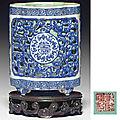 An unusual small blue-enameled quadrilobed brush pot, <b>Qianlong</b> four-character seal <b>mark</b> in iron-red <b>and</b> <b>of</b> <b>the</b> <b>period</b> (<b>1736</b>-<b>1795</b>