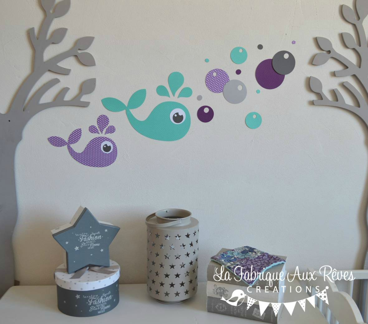 Stickers baleine turquoise violet gris bulles d coration - Chambre bebe turquoise ...