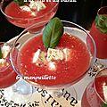 Gaspacho pastèque-tomate à la feta et au basilic