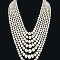 A spectacular seven-strand natural <b>pearl</b> and diamond necklace