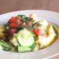 Pseudo risotto courgettes, crevettes