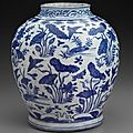 Jar with blue-and-white decoration of ducks in lotus pond. chinese, ming dynasty, wanli period, 1572–1620