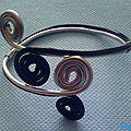 Bracelet spirale alu argent et noir