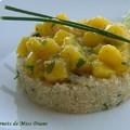Salade de mangues sur un lit de quinoa, sans gluten et sans lactose
