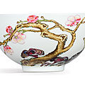 A fine and exceptional famille-rose 'prunus and lingzhi' bowl, mark and period <b>of</b> Yongzheng (1723-1735)