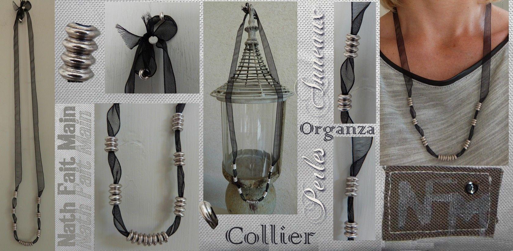 Collier organza Perles anneaux