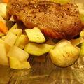 Agneau au thym et petits légumes.