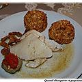 Poularde rôtie, croquettes de pommes aux girolles