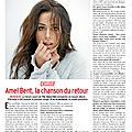 Amel en interview pour télé 7 jours (paru aujourd'hui) programmes du 28 avril au mai