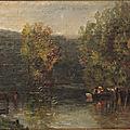 Paul Huet (1803 - 1869) - sous bois avec étang esquisse