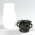Vase en bronze de patine brune de forme <b>Fang</b> <b>Hu</b> & Coupe de type gui. Chine, période Ming