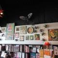 vue de l'exposition à la librairie Autour des Mots mai 2014