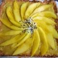 Tarte mango-lemon curd sur macaron coco