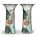 a large pair of 'tobacco leaf' beaker vases, qianlong period, circa 1775