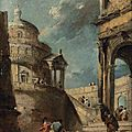 <b>Francesco</b> <b>Guardi</b> (Venice 1712-1793), A capriccio of a Palladian rotunda and a colonnade with figures conversing