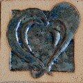 Carreau de grès : motif coeur