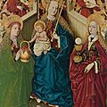 The Master of the Pottendorf Votive Panel, The Virgin and Child enthroned with angels, with Saints <b>Dorothea</b> and Barbara