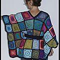 kimono granny en laine multicolore