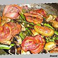 Poelee de legumes et poitrine roulee, oeufs poches