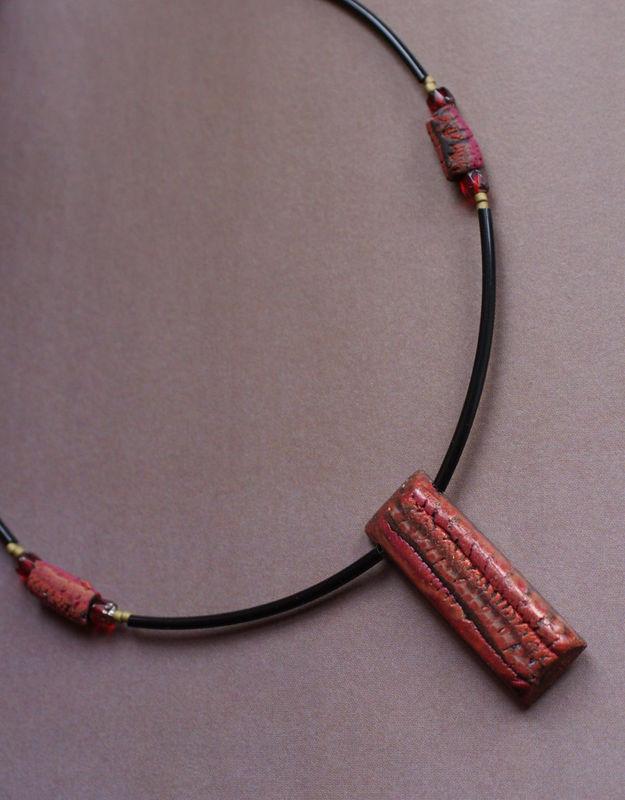 Collection très mini Tesselles déclinées en collier tons ocres aladomi