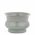A rare Longquan Guan-type celadon-glazed spittoon, zhadou, Southern Song Dynasty (1127-1279)