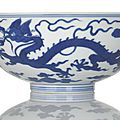 An <b>imperial</b> blue and white 'dragon' bowl, <b>China</b>, underglaze blue Qianlong seal mark and period.