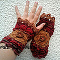 <b>mitaines</b> gants marron couleurs d'automne en laine faite-main disponible en boutique