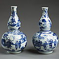Pair of Chinese gourd-shaped vases, porcelain, c 1635-40, at Ickworth House, <b>Suffolk</b>