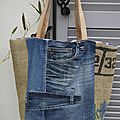 Sac en jean's et toile de jute de sac à café recyclé - réversible carreaux style madras - anses cuir - modèle unique