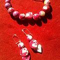 Bracelet et BO fimo rose et blanc