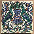 Carreau aux perroquets, Turquie, Iznik, fin 16e - <b>début</b> <b>17e</b> <b>siècle</b>. Musée du Louvre