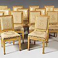 Ensemble de quatorze chaises. <b>Epoque</b> <b>Empire</b> & Style <b>Empire</b> provenant de SAR Joseph de Bourbon, Prince de condé, Duc de Bourbon