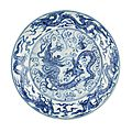 A magnificent blue and white 'Dragon' dish, Chenghua six-character mark and of the period