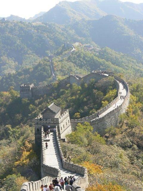 Vue en contre-bas de la Muraille de Chine