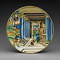 Plate with paris killing achilles and arms of the calini family, nicolo da gabriele sbraghe, ca. 1525, italian, urbino