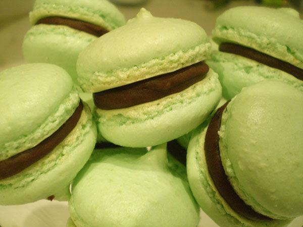 Macarons verts au chocolat