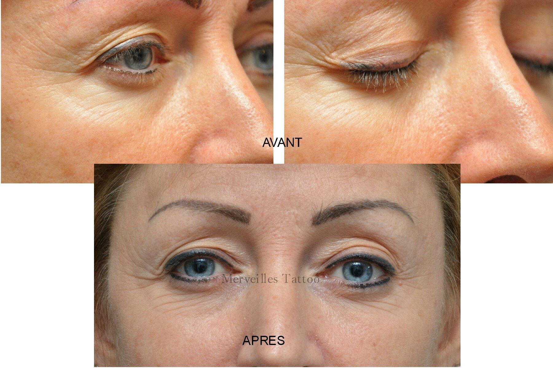 Rattrapage maquillage permanent eye liner réalisé par Vanessa