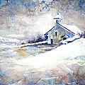Peinture Aquarelle de la chapelle d'Alby-sur-Chéran sous la neige