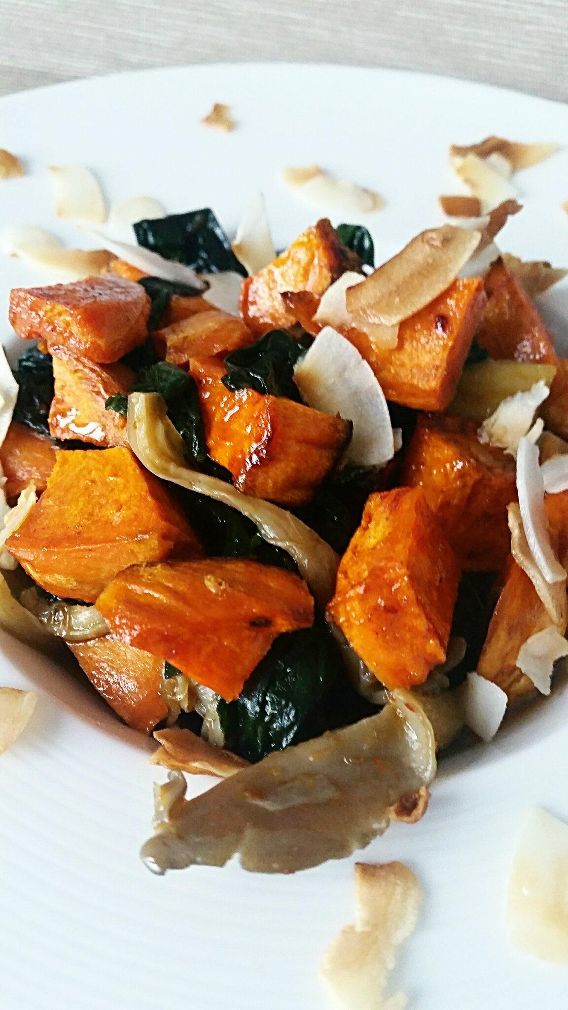 Poêlée d'épinard, de pleurotes et patate douce au curry