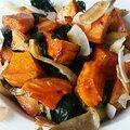Poêlée d'<b>épinard</b>, de pleurotes et patate douce au curry