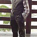 Pantalon 9781 Gilet 9528 Burda velours vert-gris 019