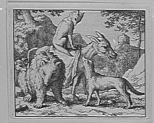 Le renard monté sur l'âne avec le loup, l'ours et le bélier