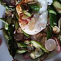Ode au printemps avec quinoa, asperges vertes, radis, amande et oeuf poché